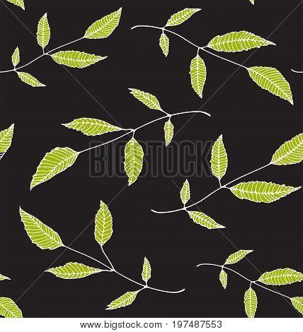 Leaves decorative tileable backdrop for design on dark background. Vector illustration