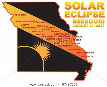 2017 Solar Eclipse Totality across Missouri State cities map color vector illustration