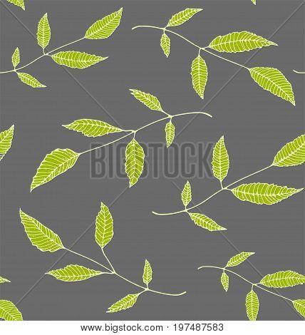 Leaves decorative tileable wallpaper backdrop for design. Vector illustration