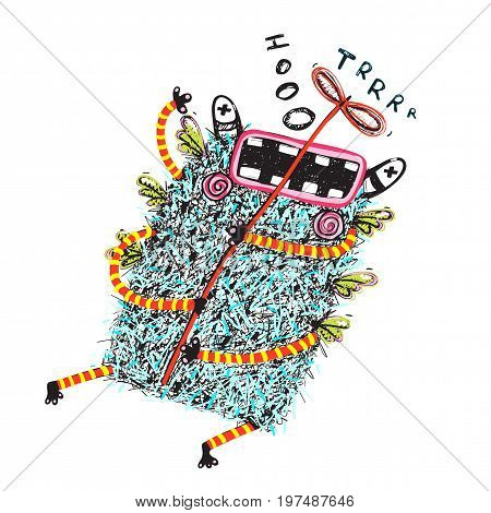 Crazy hairy monster flying with propeller. Colored Vector Illustration.