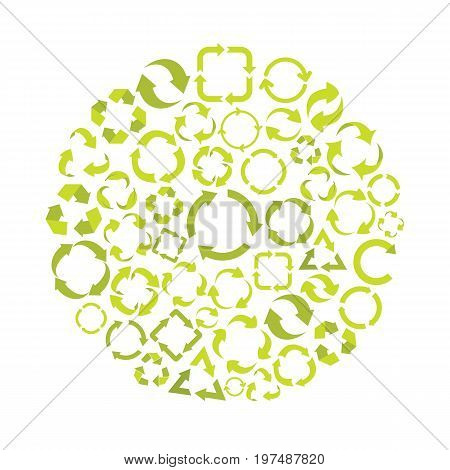 Ecology flat icons set on circle. Ecology vector illustration for design and web isolated on white background. Ecology vector object for labels, logos and advertising