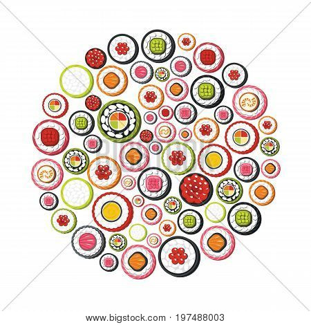 Sushi cartoon icons set on circle. Sushi vector illustration for design and web isolated on white background. Sushi vector object for labels, logos and advertising
