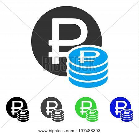 Rouble Coins flat vector pictograph. Colored rouble coins gray, black, blue, green icon variants. Flat icon style for graphic design.