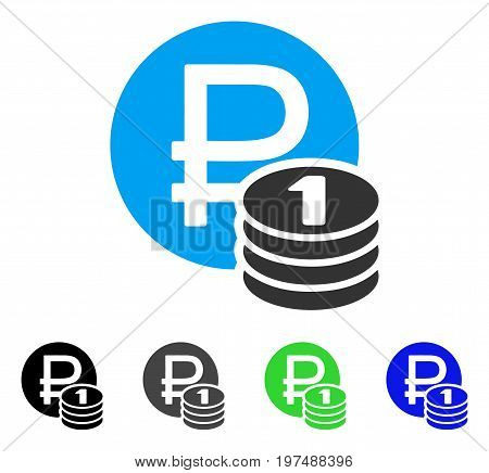 Rouble Coins flat vector icon. Colored rouble coins gray, black, blue, green icon variants. Flat icon style for application design.