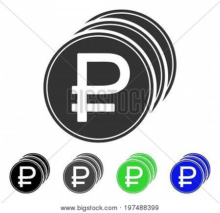 Rouble Coins flat vector pictograph. Colored rouble coins gray, black, blue, green pictogram versions. Flat icon style for application design.