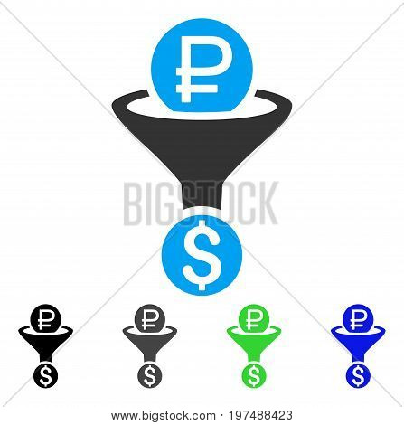 Rouble Currency Conversion flat vector illustration. Colored rouble currency conversion gray, black, blue, green pictogram versions. Flat icon style for application design.