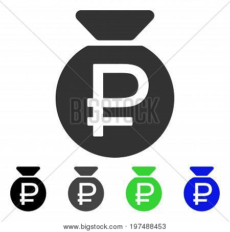 Rouble Fund flat vector illustration. Colored rouble fund gray, black, blue, green icon variants. Flat icon style for application design.
