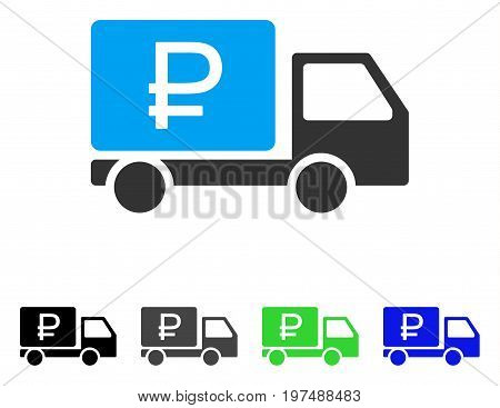 Rouble Shipment flat vector pictogram. Colored rouble shipment gray, black, blue, green pictogram versions. Flat icon style for web design.
