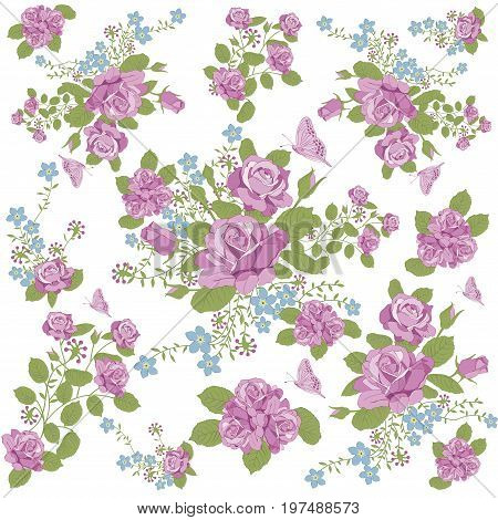rose flower and butterfly background pattern, rose flower