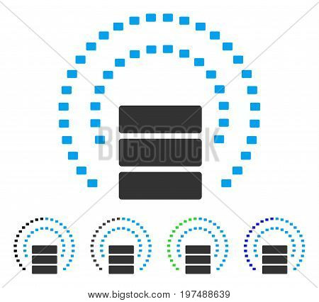 Database Sphere Shield flat vector icon. Colored database sphere shield gray, black, blue, green pictogram variants. Flat icon style for application design.