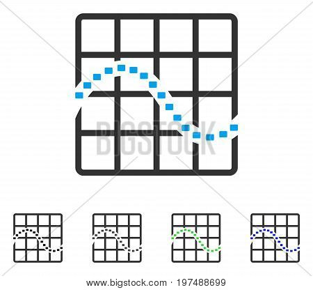 Dotted Function Chart flat vector icon. Colored dotted function chart gray, black, blue, green pictogram versions. Flat icon style for web design.