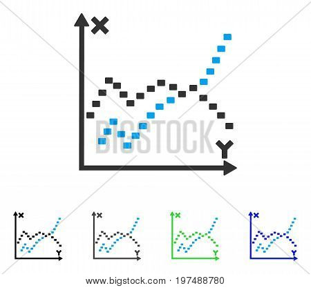 Dotted Functions Plot flat vector illustration. Colored dotted functions plot gray, black, blue, green icon variants. Flat icon style for application design.