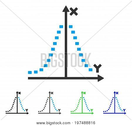 Dotted Gauss Plot flat vector pictogram. Colored dotted gauss plot gray, black, blue, green icon versions. Flat icon style for application design.