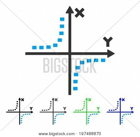 Dotted Hyperbola Plot flat vector illustration. Colored dotted hyperbola plot gray, black, blue, green pictogram versions. Flat icon style for web design.