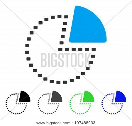 Dotted Pie Chart flat vector icon. Colored dotted pie chart gray, black, blue, green pictogram versions. Flat icon style for graphic design.