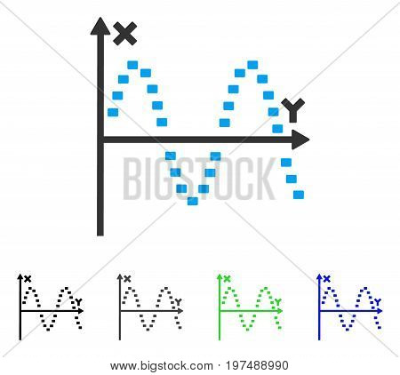 Dotted Sine Plot flat vector icon. Colored dotted sine plot gray, black, blue, green icon versions. Flat icon style for graphic design.