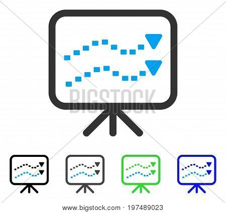 Dotted Trends Board flat vector icon. Colored dotted trends board gray, black, blue, green pictogram versions. Flat icon style for application design.