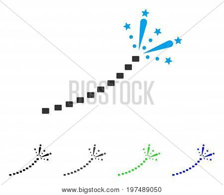 Fireworks Trace flat vector pictograph. Colored fireworks trace gray, black, blue, green icon versions. Flat icon style for web design.