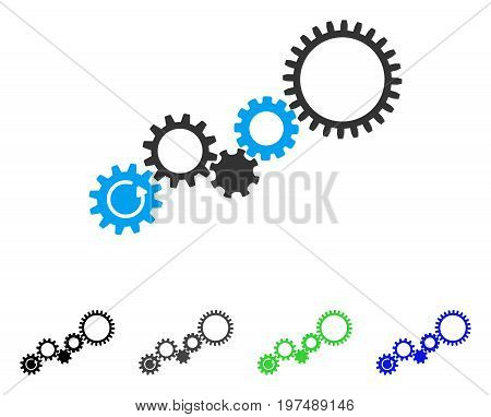 Gear Mechanism flat vector pictograph. Colored gear mechanism gray, black, blue, green icon variants. Flat icon style for web design.