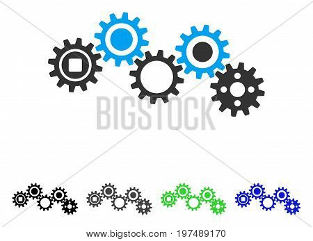 Gear Mechanism flat vector pictograph. Colored gear mechanism gray, black, blue, green pictogram versions. Flat icon style for web design.