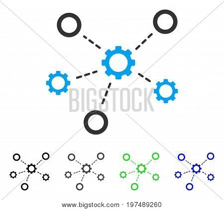 Gears Relations flat vector pictogram. Colored gears relations gray, black, blue, green pictogram variants. Flat icon style for web design.