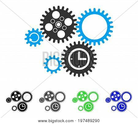 Gear Mechanism flat vector icon. Colored gear mechanism gray, black, blue, green pictogram versions. Flat icon style for application design.