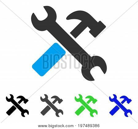 Hammer And Wrench flat vector icon. Colored hammer and wrench gray, black, blue, green icon variants. Flat icon style for application design.