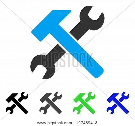 Hammer And Wrench flat vector pictogram. Colored hammer and wrench gray, black, blue, green pictogram versions. Flat icon style for graphic design.