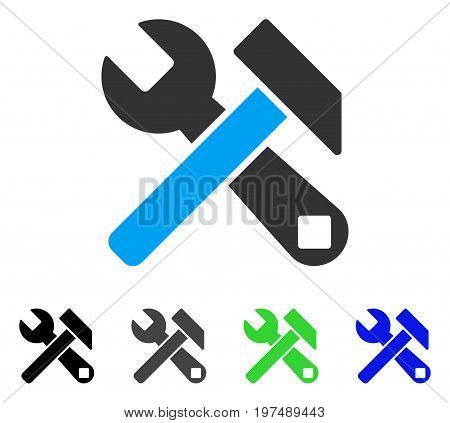Hammer And Wrench flat vector icon. Colored hammer and wrench gray, black, blue, green icon versions. Flat icon style for web design.