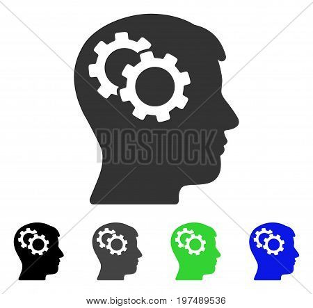Intellect Gears flat vector pictograph. Colored intellect gears gray, black, blue, green icon versions. Flat icon style for application design.