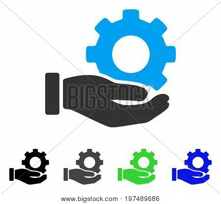 Mechanic Gear Service Hand flat vector illustration. Colored mechanic gear service hand gray, black, blue, green icon variants. Flat icon style for graphic design.