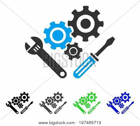 Mechanics Tools flat vector illustration. Colored mechanics tools gray, black, blue, green pictogram variants. Flat icon style for web design.