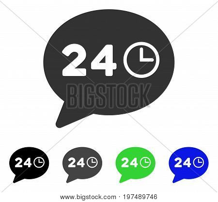 Message Hours flat vector illustration. Colored message hours gray, black, blue, green pictogram variants. Flat icon style for graphic design.