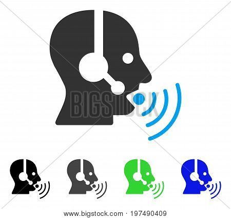 Operator Talking Sound Waves flat vector icon. Colored operator talking sound waves gray, black, blue, green icon variants. Flat icon style for web design.