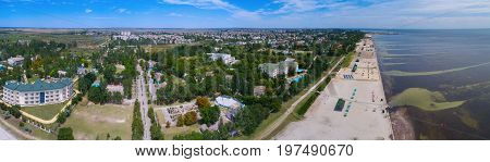 Panorama from the quadrocopter of the city of Skadovsk. Ukraine