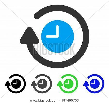 Repeat Clock flat vector illustration. Colored repeat clock gray, black, blue, green icon variants. Flat icon style for web design.