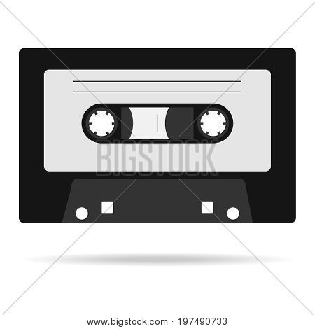 Retro audio cassette with shadow icon audio cassette. Flat design vector illustration vector.