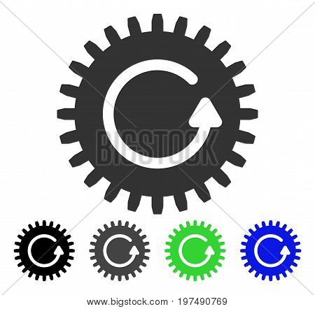 Rotate Cog flat vector pictograph. Colored rotate cog gray, black, blue, green pictogram versions. Flat icon style for graphic design.