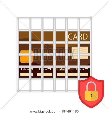Secure credit card transaction. The bank card is under protection. Shield with lock and grille. Flat design vector illustration vector.
