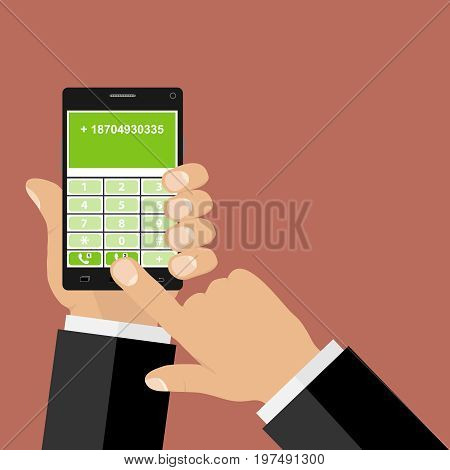 The hand dials the phone number hands hold the phone. Flat design vector illustration vector.