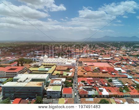 Aerial street view of Leon city in Nicaragua. Travel destination in Nicaragua