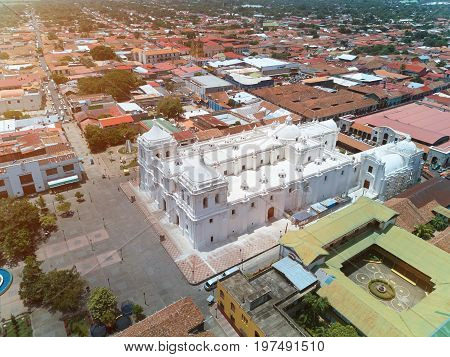 Aerial panorama view of Leon city in Nicaragua. White church in Leon town
