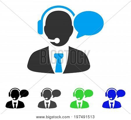 Support Manager Message flat vector pictogram. Colored support manager message gray, black, blue, green icon versions. Flat icon style for web design.