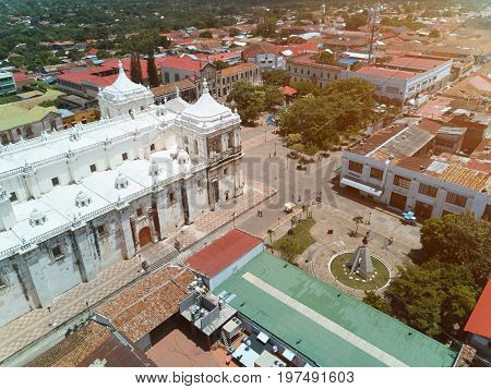 Cathedral  with white roof in Leon Nicaragua. Center park in Leon