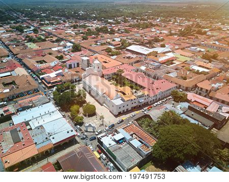 Aerial panorama view streets of Leon city in Nicaragua. Travel destination in Nicaragua