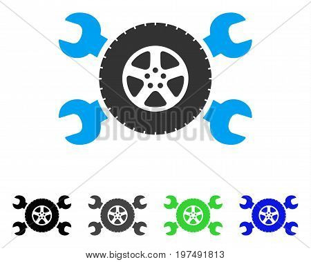 Tire Service Wrenches flat vector pictograph. Colored tire service wrenches gray, black, blue, green icon versions. Flat icon style for graphic design.