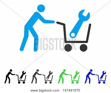 Tools Shopping flat vector illustration. Colored tools shopping gray, black, blue, green pictogram versions. Flat icon style for graphic design.