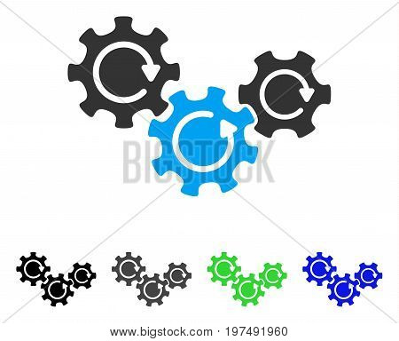 Transmission Gears Rotation flat vector pictograph. Colored transmission gears rotation gray, black, blue, green icon versions. Flat icon style for application design.
