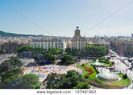 Plaza Catalunia famous square of Barcelona, Spain