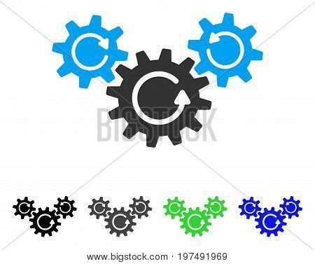 Transmission Wheels Rotation flat vector illustration. Colored transmission wheels rotation gray, black, blue, green pictogram variants. Flat icon style for application design.